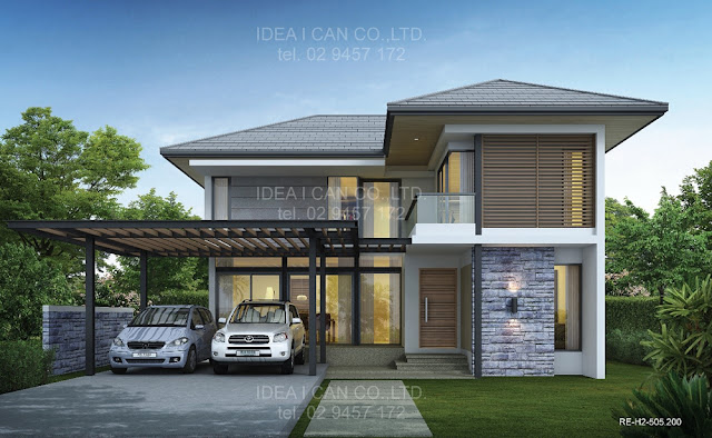 Resort floor plans 2 story house plan 4 bedrooms 4 for Home designs thailand