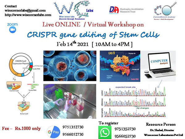LIVE ONLINE WORKSHOP on CRISPR GENE EDITING OF STEM CELLS | February 14th 2021