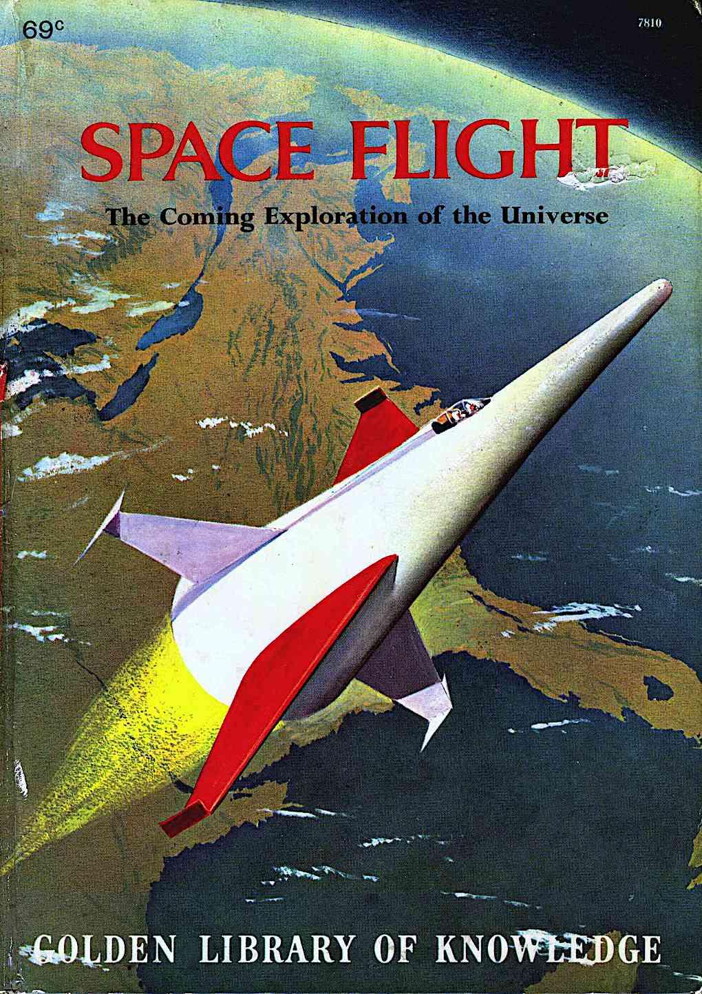 John Polgreen Space Flight, cover illustration of a weird rocket leaving Earth