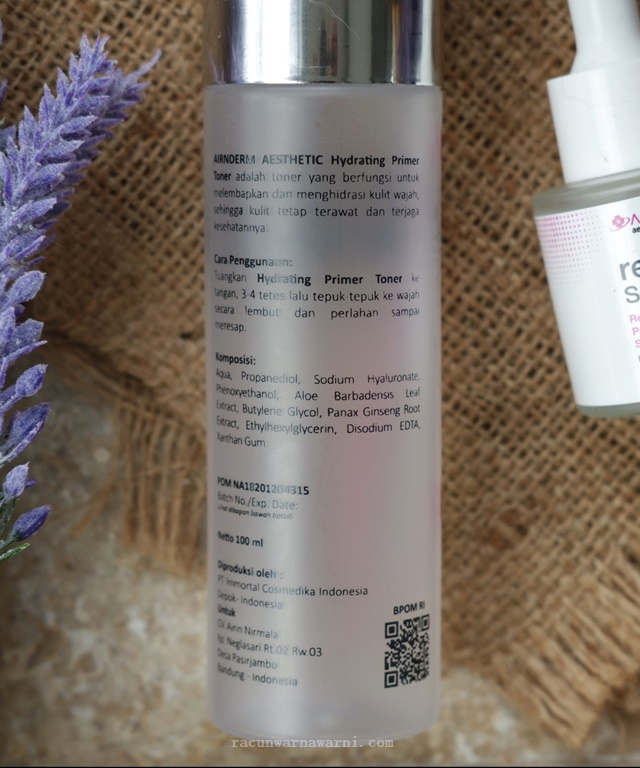 Review Ingredient Airnderm Hydrating Primer Toner