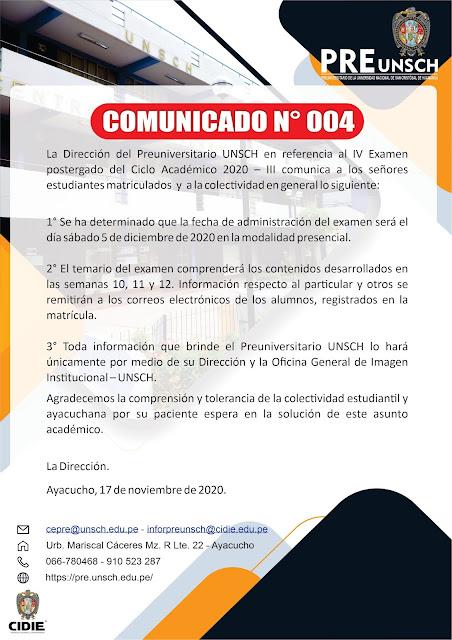 COMUNICADO N° 004