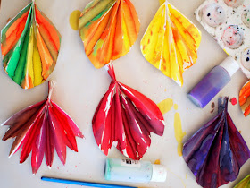 Watercolor painted accordion fold fall paper leaf banner