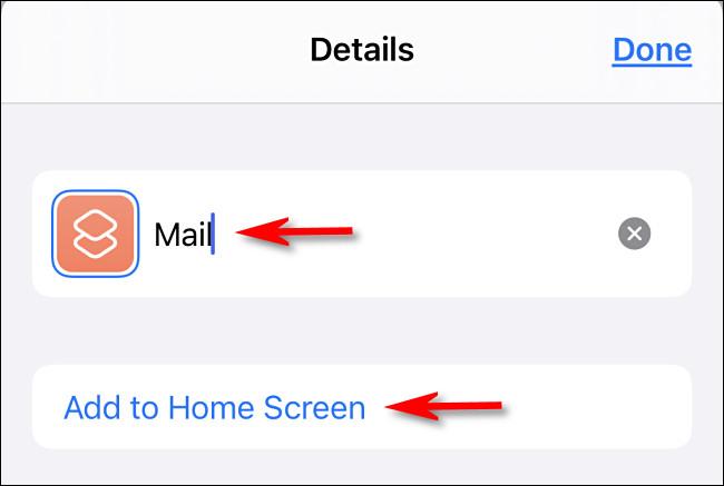 """اكتب اسم رمز التطبيق ، وانقر على """"إضافة إلى الشاشة الرئيسية""""."""