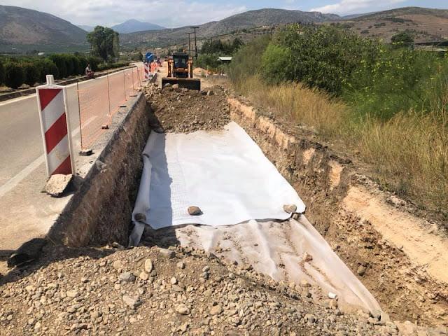 Εργασίες αποκατάστασης του νότιου περιφερειακού στο Άργος από την Π.Ε. Αργολίδας