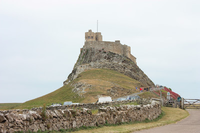 Photo of Lindisfarne Castle with a dry stone wall and a wooden gate in front.