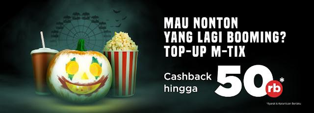 #Tokopedia - #Promo Cashback Hingga 50K TopUp MTix & Entertainment (s.d 06 Okt 2019)