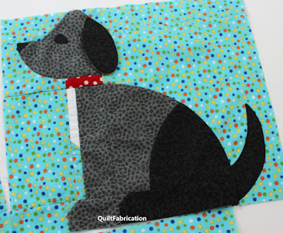 grey and black dog quilt block