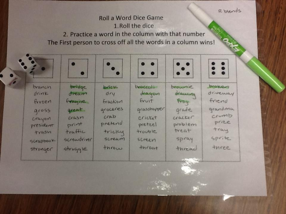 Liz S Speech Therapy Ideas Roll A Word Articulation Game
