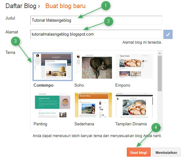 Tutorial Blogger,judul,alamat,tema,template,blog