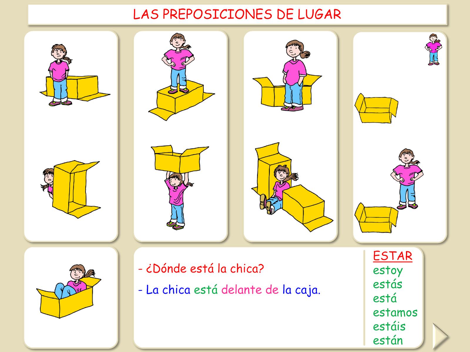 Me Encanta Escribir En Espanol Las Preposiciones De Lugar