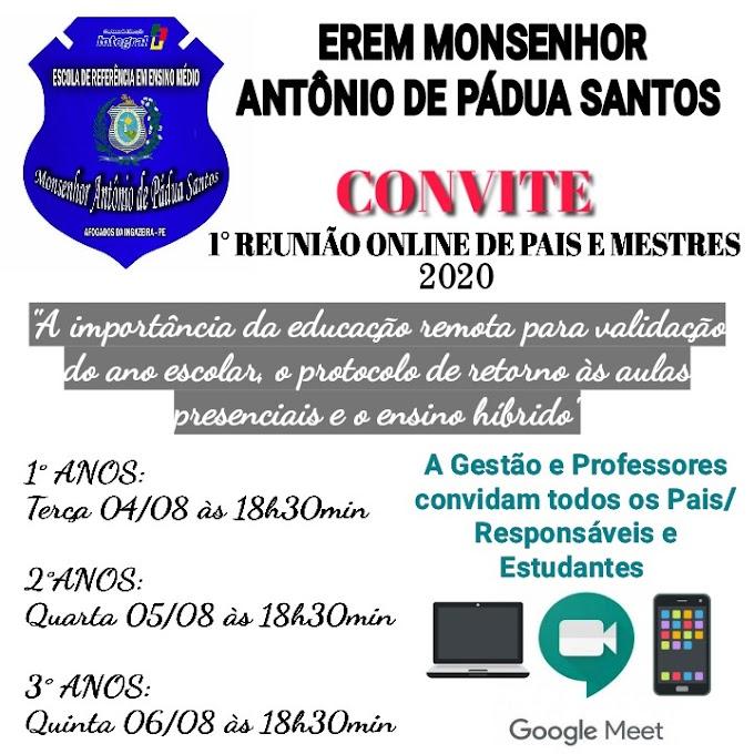 EREM Monsenhor vai realizar reunião online com pais e mestres
