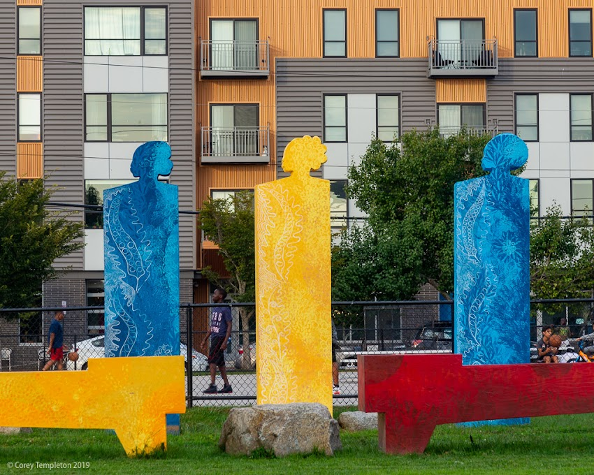 """Portland, Maine USA September 2019 photo by Corey Templeton. The temporary art piece """"Mother's Garden"""" by Daniel Minter at Fox Field in East Bayside."""