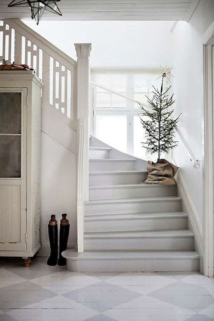 image result for Swedish Farmhouse Christmas Decorating Interior Design stairs tree