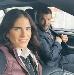 Charlie Weber clicking selfie with his co-actor while sitting in a car