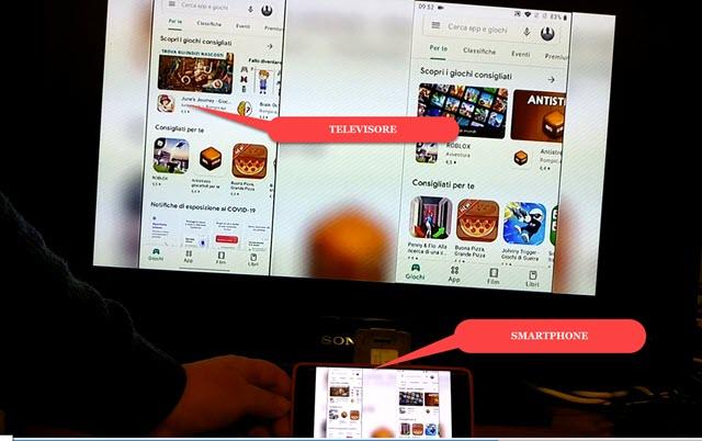 collegamento con cavo tra dispositivo mobile e televisione