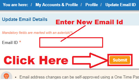 how to register email id in sbi account