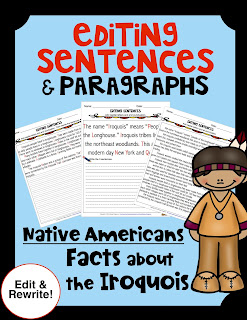 ELA Editing Sentences Paragraphs History Iroquois Native Americans