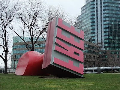 FREE stamp in cleveland, sculpture, ohio, red