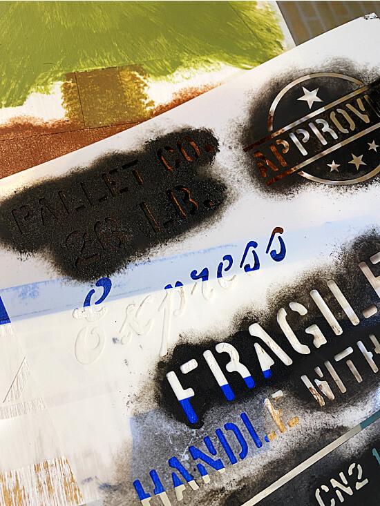 stenciled crate stencil
