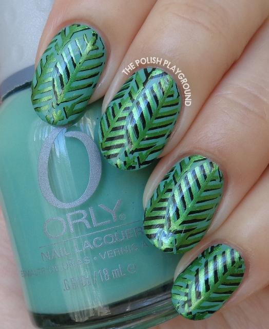 Layered Green Leaves Stamping Nail Art