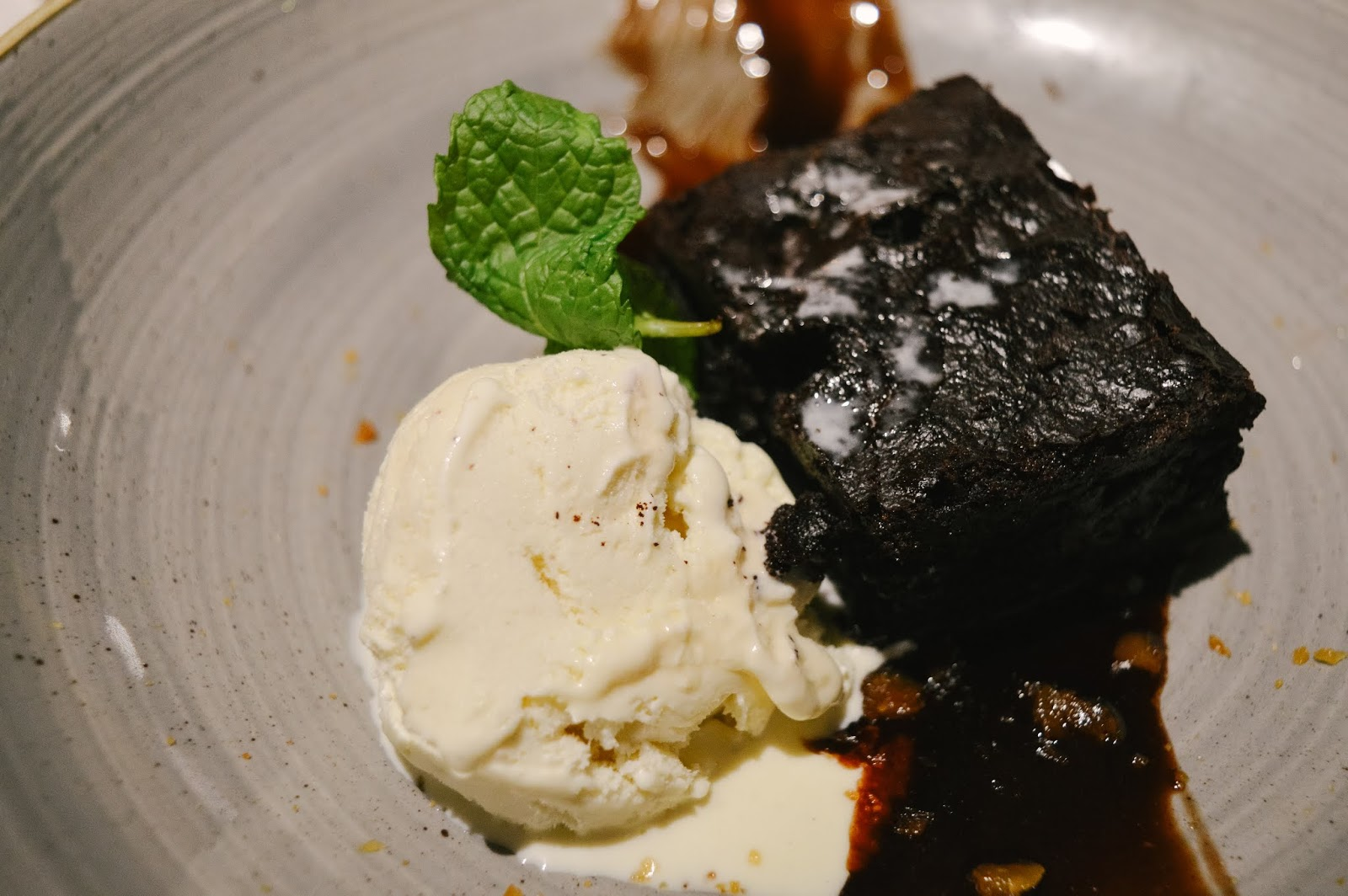 Warm chocolate brownie served at The Old Forge in Otterbourne