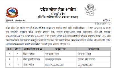 Written Exam Result Lok Sewa Aayog Bagmati Provision