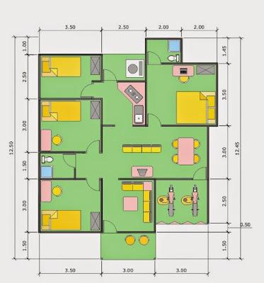 Denah Rumah ukuran 10 X 13