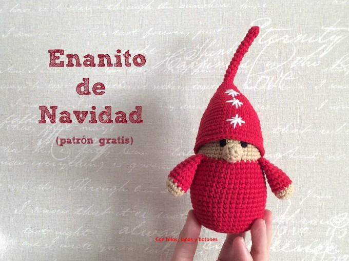 Con hilos, lanas y botones: Enanito de Navidad de ganchillo (patrón gratis)
