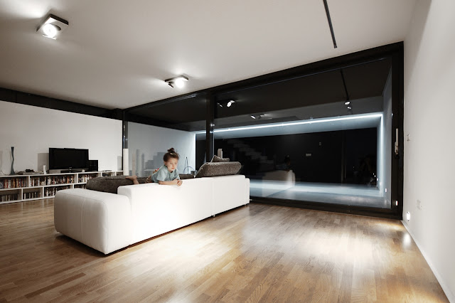 Modern living room at night