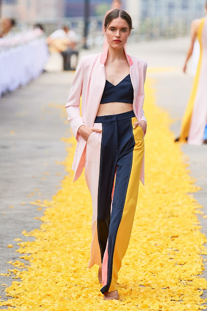 Color block power suit with bandeau top and blazer