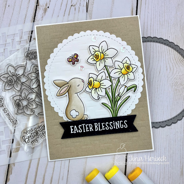 Daffodil Card by Maria Russell | Daffodils Stamp Set, Bitty Bunnies Stamp Set, Basketweave Stencil, Circle Frames Die Set and Banner Trio Die Set by Newton's Nook Designs #newtonsnook #handmade