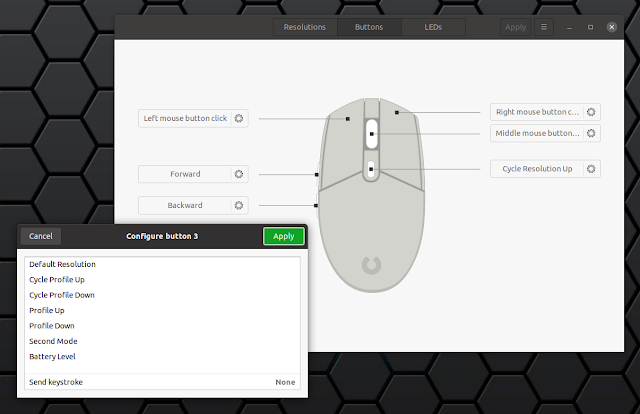 Piper configure Logitech mouse macros Linux