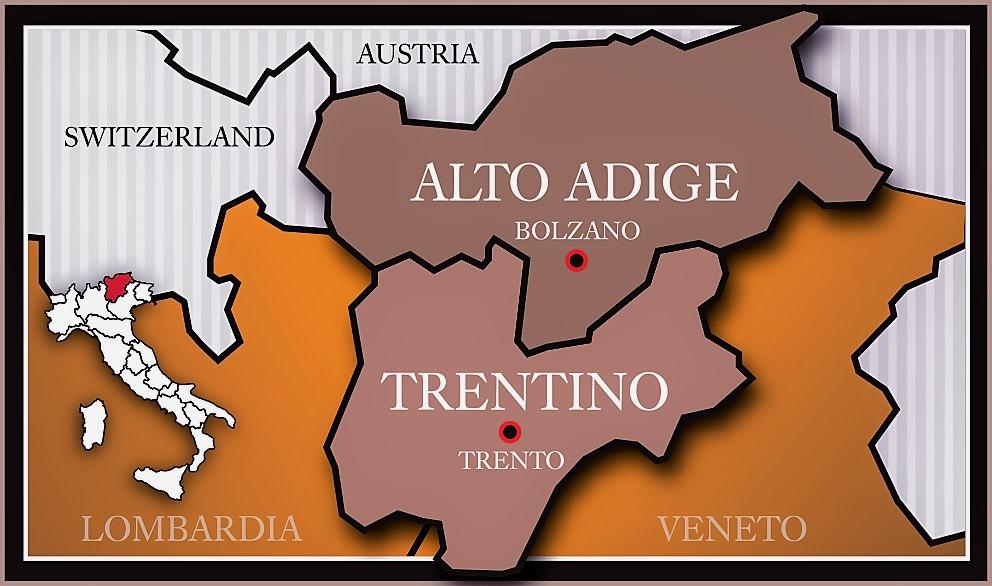 Cartina Trentino.Il Trentino Alto Adige