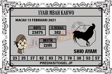 Syair Mbah Karwo Togel Macau Sabtu, 13 Februari 2021