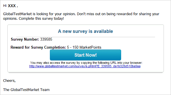Survey invitation from Global Test Market