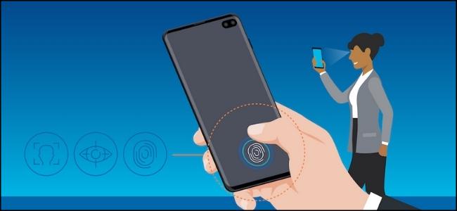 رسم لامرأة باستخدام التعرف على المقاييس الحيوية من Samsung على ظهر الهاتف الذكي.