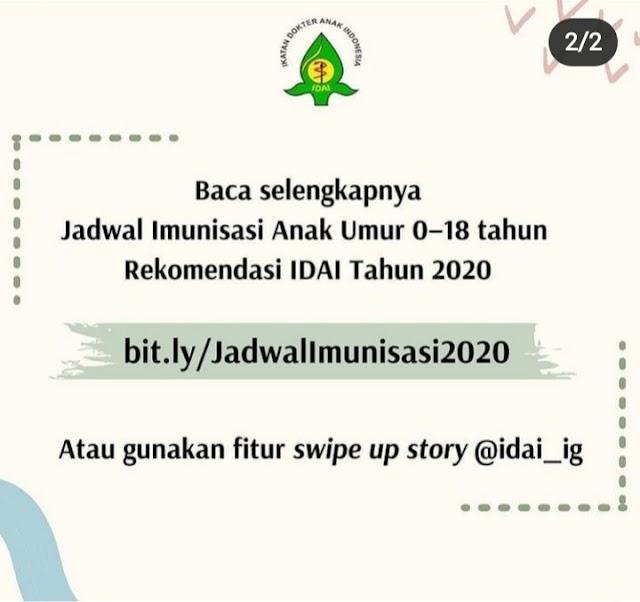 NEW! Jadwal Imunisasi Anak 0-18 Tahun Rekomendasi IDAI Tahun 2020