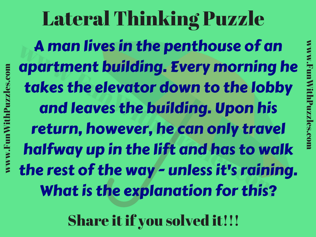 Lateral Thinking Puzzle for Kids with Answer - Fun With Puzzles