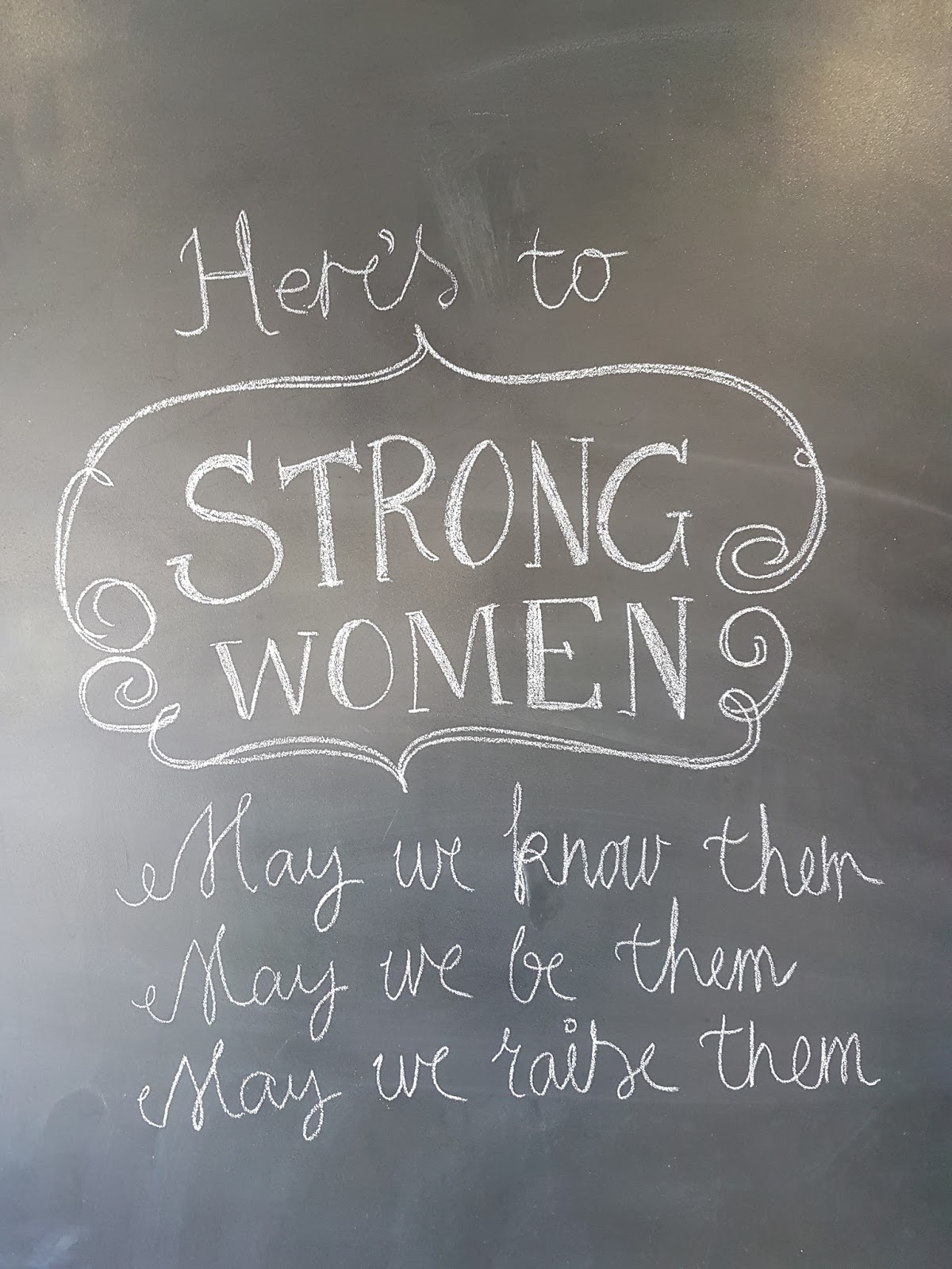 chalkboard wall with here's to strong women quote