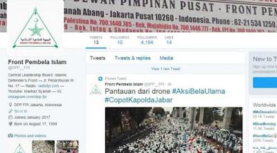 Akun Twitter yang diduga adalah akun baru dari FPI