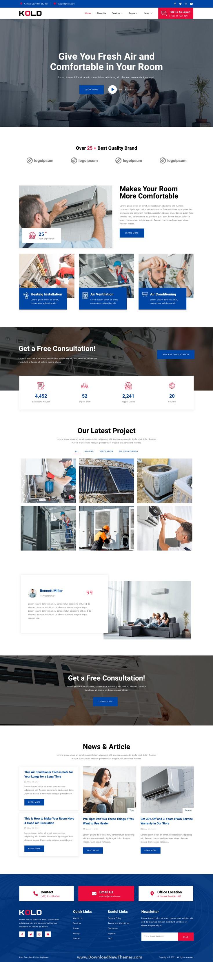 Air Conditioner & HVAC Repair Service Elementor Template Kit