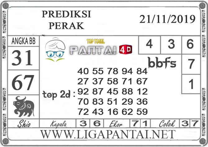 """PREDIKSI TOGEL """"PERAK"""" PANTAI4D 21 NOVEMBER 2019"""