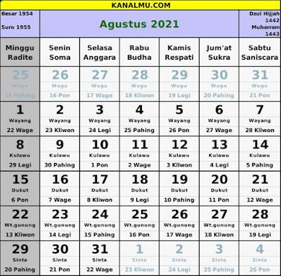 kalender agustus 2021 lengkap jawa hijriyah