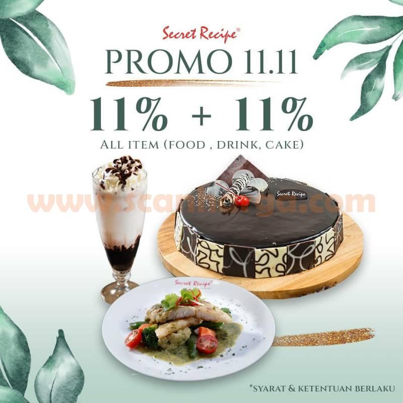 Secret Recipe Promo 11.11 [Diskon 11%+11% All Item]