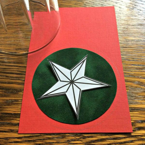 red and green paper circles with paper star pattern