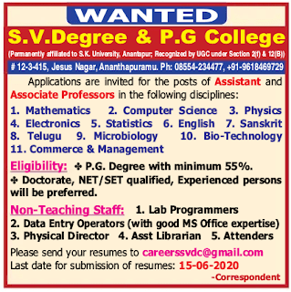 Ananthapuramu, S.V.Degree and PG College Assistant Professor, Associate Professor Faculty Jobs 2020