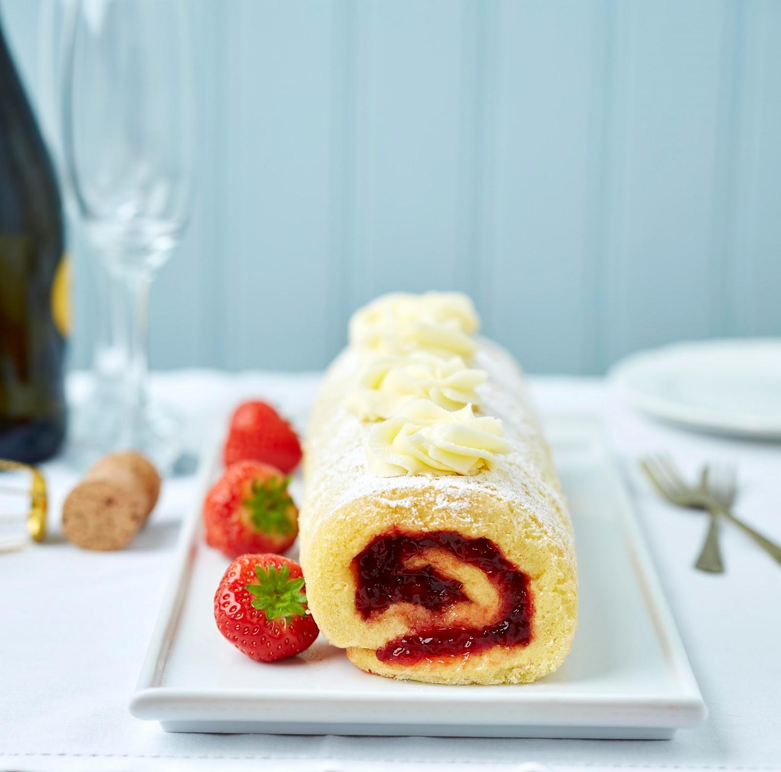 Gluten Free Strawberry Swiss Roll With Prosecco Buttercream