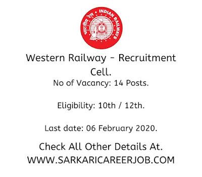 Western Railway Vacancies 2020 latest government job vacancies.