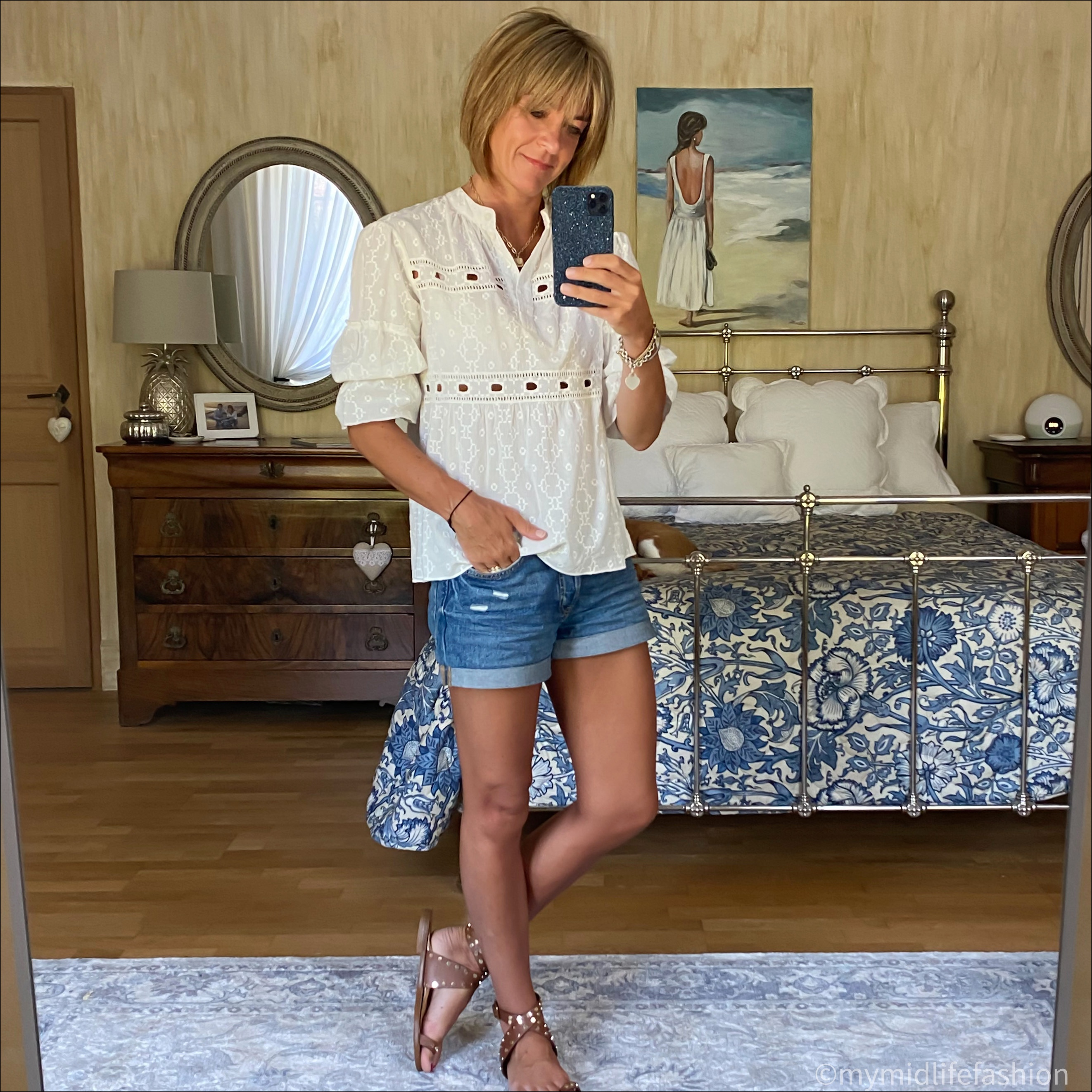my midlife fashion, broderie anglaise blouse, h and m boyfriend denim shorts, basalt studded sandals