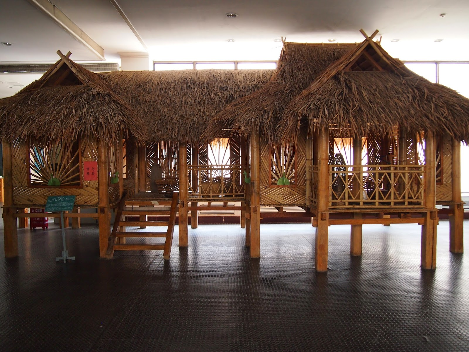 A model of a bamboo house in the Yunnan Nationalities Museum in Kunming, China
